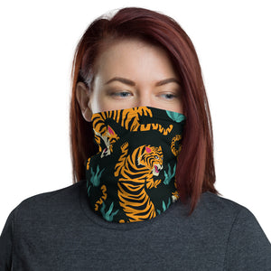 Tiger Face Mask Neck Gaiter, Big Cat Animal Print Fabric Cloth Mouth Shield Cover Fashion Half Washable Scarf Protection Headband Bandanna - Starcove Design