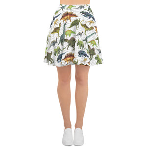 Dinosaur Dino Print Skirt, Fun Animal White Rawr Boho Festival Cute Party, High Waisted Skater Circle Skirt - Starcove Design