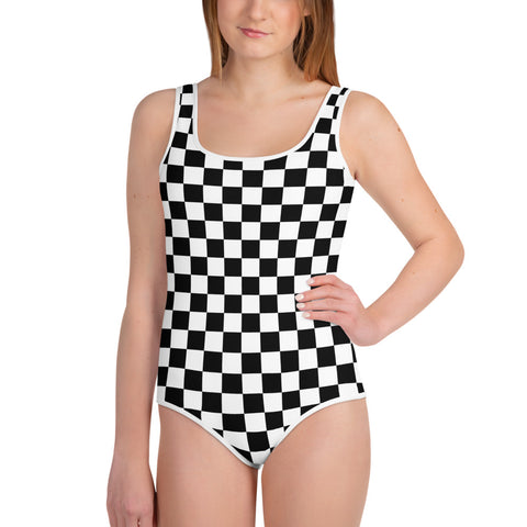Kids Girls Swimsuits Youth Bathing Suit, Black and White Checkered Check Graphic One Piece Swimwear 8 10 12 14 16 18 - Starcove Design