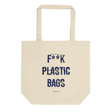 Fuck Plastic Bags Tote Bags, Reusable Canvas Free Plastic, Printed Save Our Oceans Handbag Eco Friendly Organic Cotton Tote Bag - Starcove Design