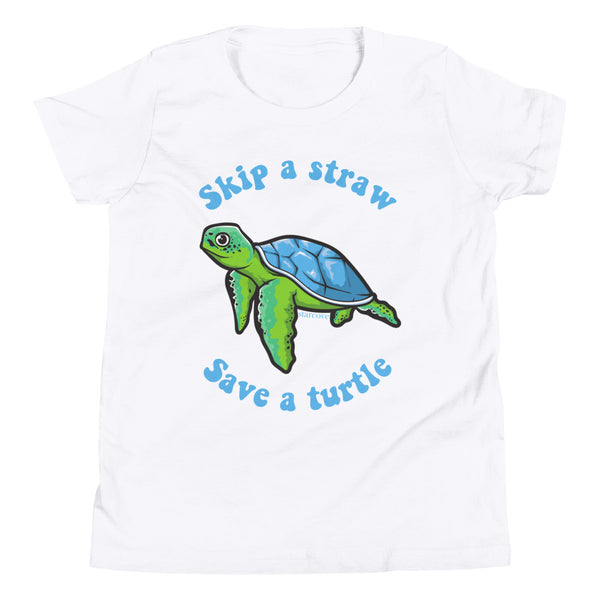 Skip A Straw Save A Turtle Shirt, Teen Tween Girl, Sea Turtle Beach Ocean Lover Gift Youth Kids Aesthetic Short Sleeve T-Shirt - Starcove Design
