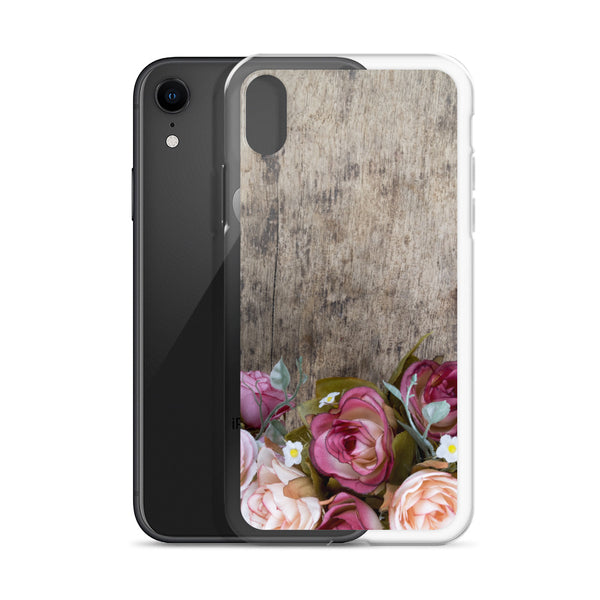 Roses on Wood iPhone 11 Pro Max Case, Cute Wooden Pink Red Flowers Print Gift, Aesthetic XS Max, XR, X, 7 Plus, 8 8F,  6s 6 Plus, 5 5s 5e Phone - Starcove Design