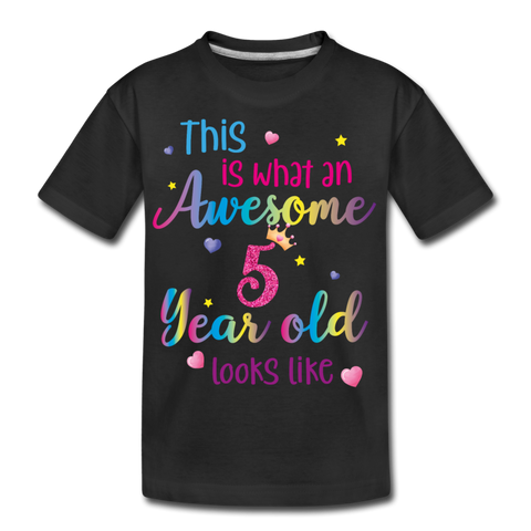 This is What an Awesome 5 Year Old Looks Like, Kid's Organic T-Shirt 5th Year Birthday Birthday 5th Five Year Fun Rainbow Party Eco Friendly Gift - Starcove Design