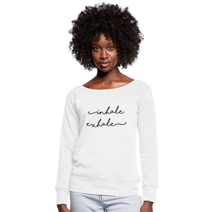 Inhale Exhale Off the Shoulder Top Sweater, Yoga Workout Savasana Namaste, Womens Sponge Fuzzy Fleece Wide Neck Sweatshirt - white