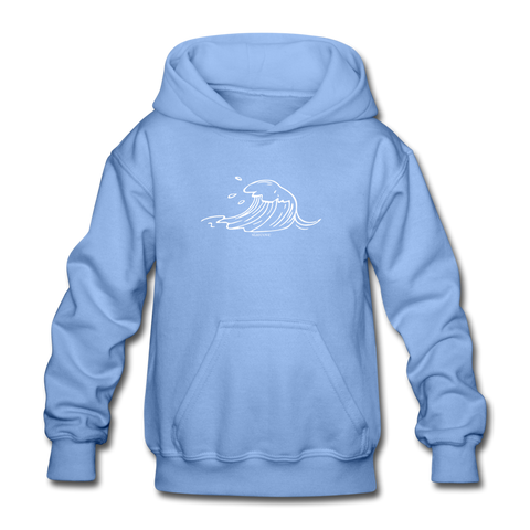 Ocean Sea Wave Kids Hoodie, Beach Vacation Fun Youth Boys Girls Graphic Surf Tumblr Hooded Sweatshirt - carolina blue