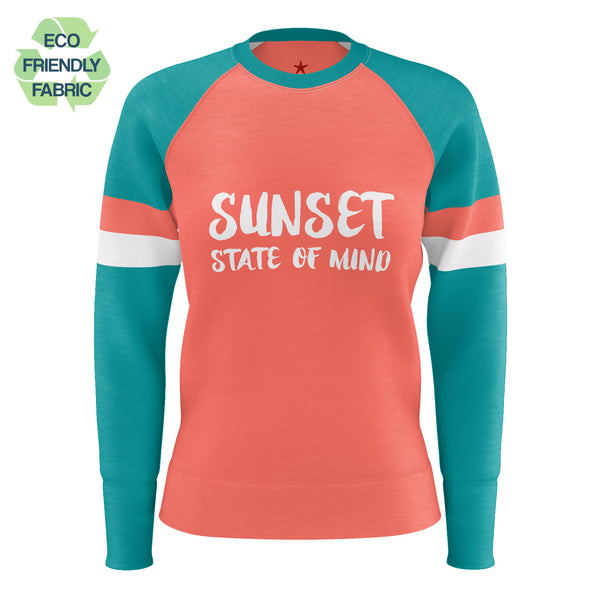 Sunset State of Mind Sweatshirt, Living Coral Pantone 2019 Orange Green Color Block, Crewneck Women's Eco Friendly Raglan Top - Starcove Design