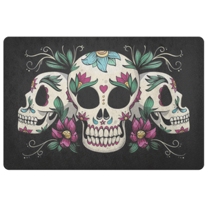 Sugar Skull Doormat, Floral Mexican Skeleton Gothic Dia de Muertes Floor Rug Front Door House Warming Gift Welcome Mat Decor Calavera - Starcove Design