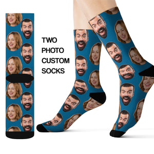Custom Two Faces On Socks, Personalized Photo Gift Couple Kids Wedding 3D Sublimation Women Men Funny Fun Novelty Cool Crazy Unique Gift - Starcove Design