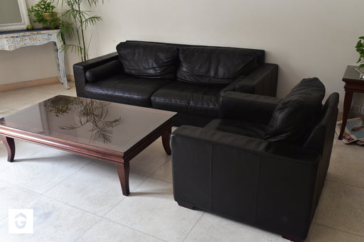 Korean Genuine Leather Black/ Dark Tan Leather Sofa Set (3 +1) with matching Centre & Side Table - Premium Diplomat Goods