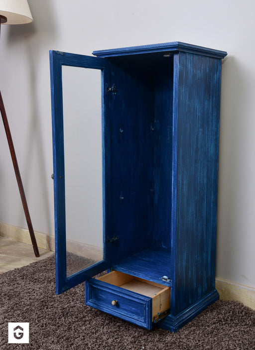 Sea Blue Distressed Display Cabinet Imported from Finland - Premium Diplomat Goods