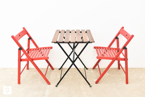 Ikea Coffee Table with 3 Red Folding Chairs - Premium Diplomat Goods