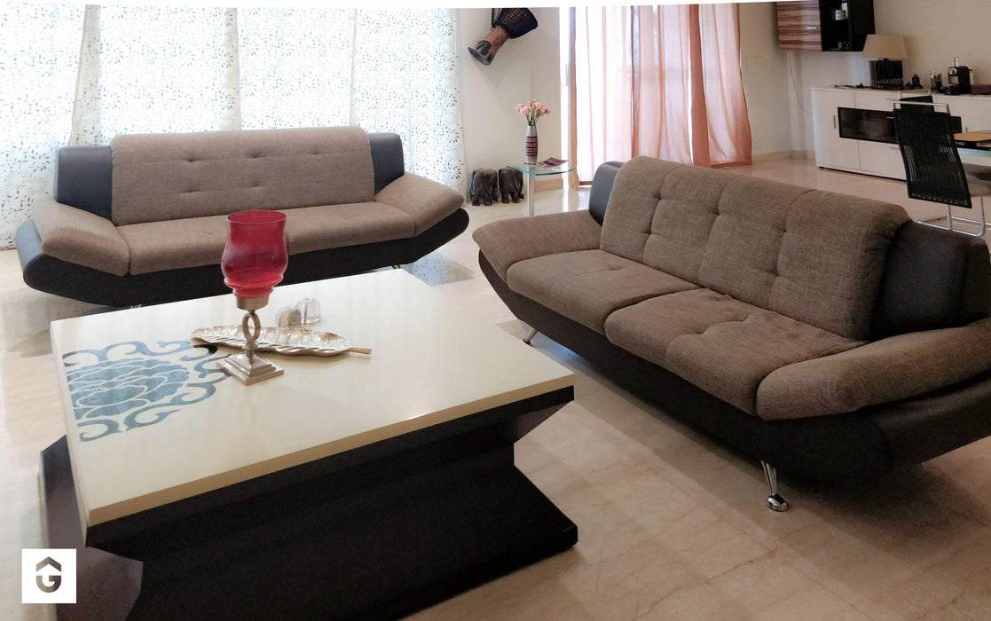 Imported 8 Seater German Sofa Set (3 + 3 + 2) in Premium GreyFabric and Genuine Leather - Premium Diplomat Goods