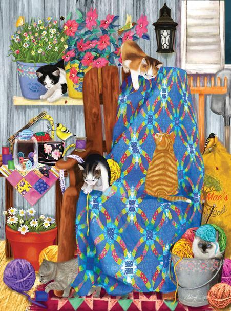 Porch Kittens 1000pc Jigsaw Puzzle | Ashley Davis
