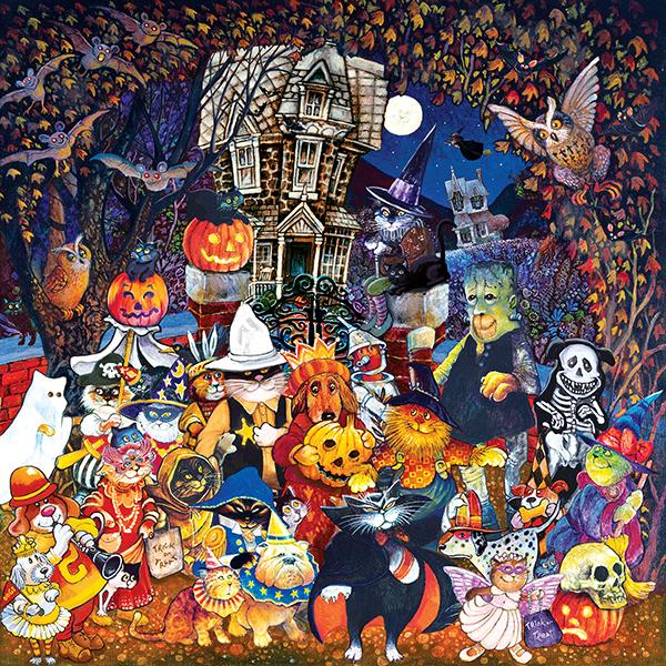 Cats and Dogs on Halloween 500pc Jigsaw Puzzle | Bill Bell