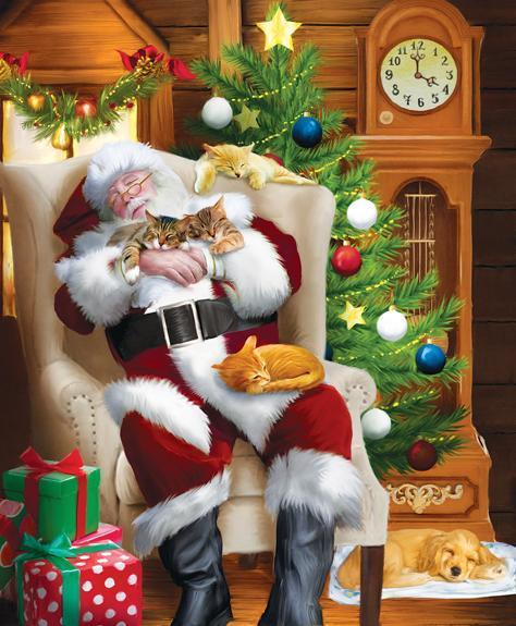Santa and His Cats 1000pc Jigsaw Puzzle | Tom Wood