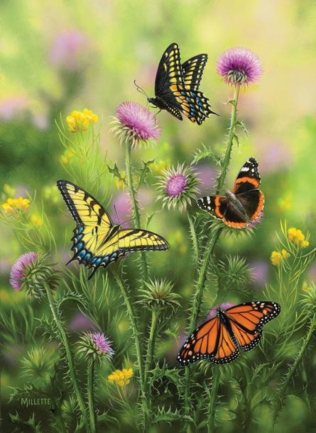 Butterflies & Thistle 500+pc Jigsaw Puzzle | Rosemary Millette