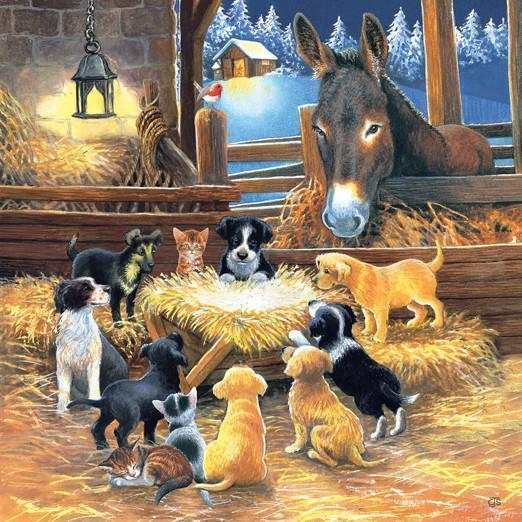 Barnyard Nativity 500pc Jigsaw Puzzle | Chrissie Snelling