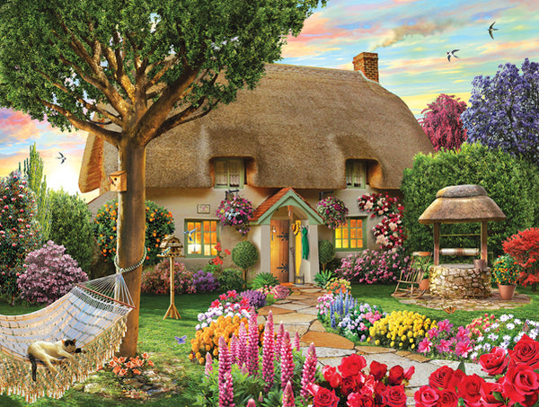 Wishing Well Cottage 1000pc Jigsaw Puzzle | Adrian Cherterman