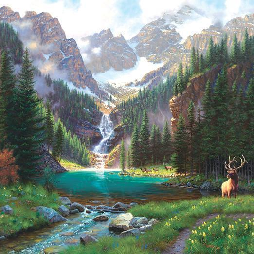 Elk at the Waterfall 1000pc Jigsaw Puzzle | Mark Keathley
