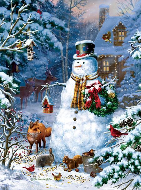 Winter Cabin Snowman 1000pc Jigsaw Puzzle | Liz Goodrick-Dillion