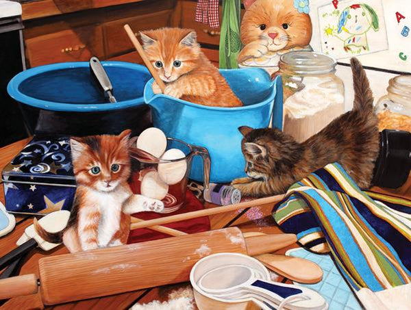 Kitties in the Kitchen 1000pc Jigsaw Puzzle | Julie Bauknecht