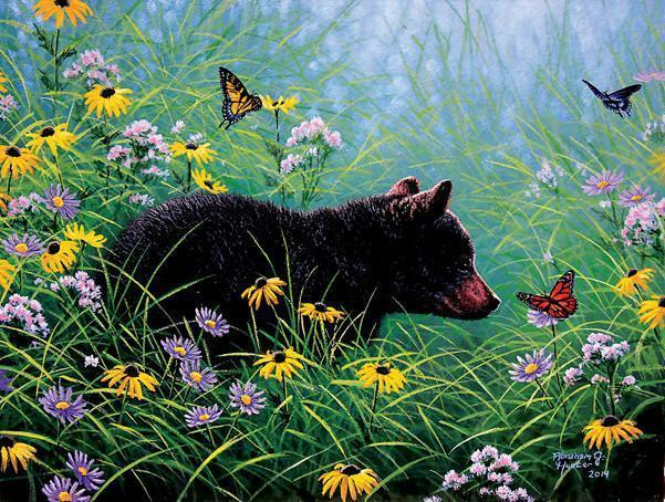 Black Bear and Butterflies 500pc Jigsaw Puzzle | Abraham Hunter