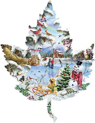 Winter on the Lake 1000pc Shaped Jigsaw Puzzle | Lori Schory