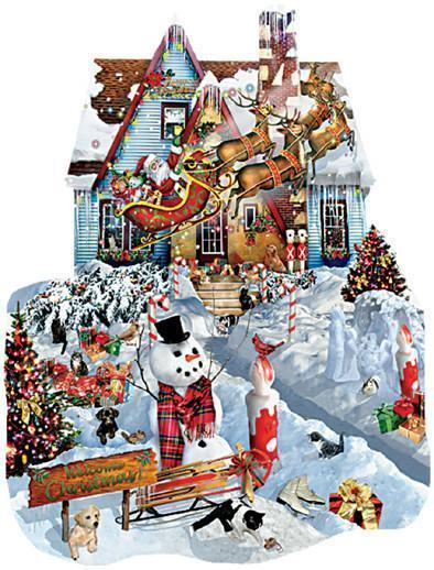 Christmas at Our House 1000pc Shaped Jigsaw Puzzle | Lori Schory