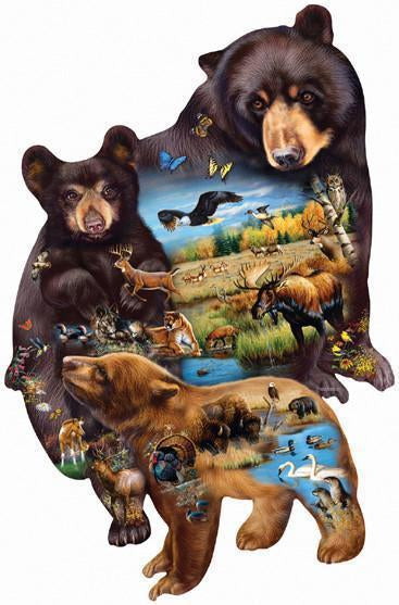 Bear Family Adventure 1000pc Shaped Jigsaw Puzzle | Cynthia Fisher