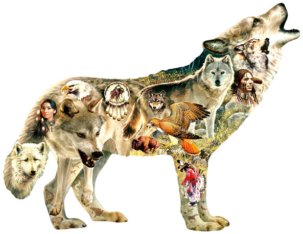 Native American Wolf 1000pc Shaped