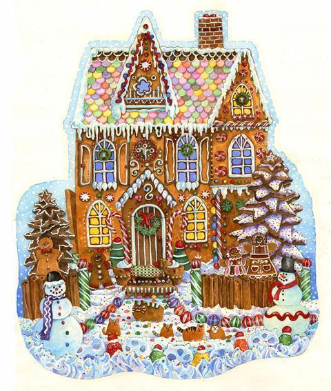 Gingerbread House 1000pc Shaped Jigsaw Puzzle | Wendy Edelson
