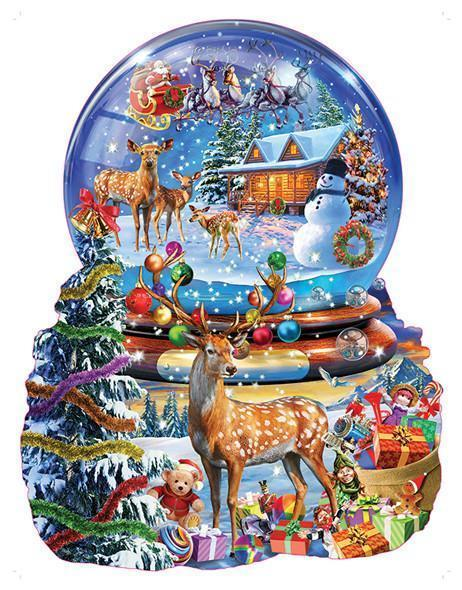 Christmas Snow Globe 1000pc Shaped Jigsaw Puzzle | Adrian Chesterman