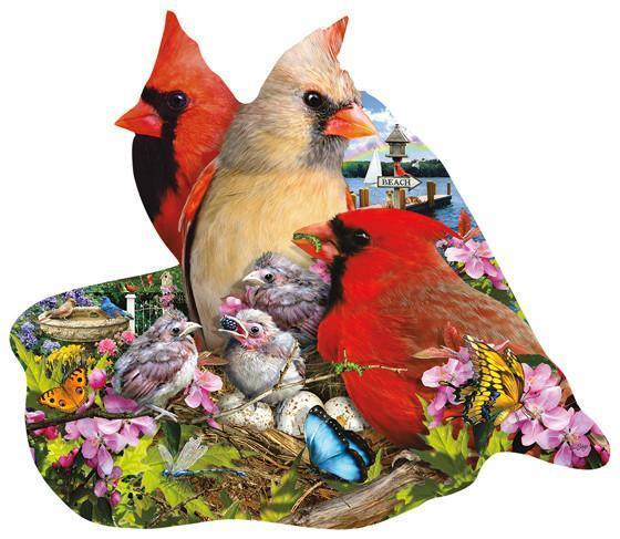 Spring Cardinals 800pc Shaped Jigsaw Puzzle | Lori Schory