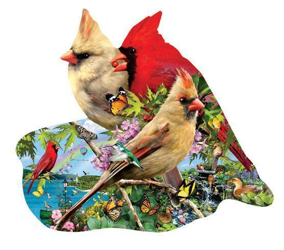 Summer Cardinals 800pc Shaped Jigsaw Puzzle | Lori Schory