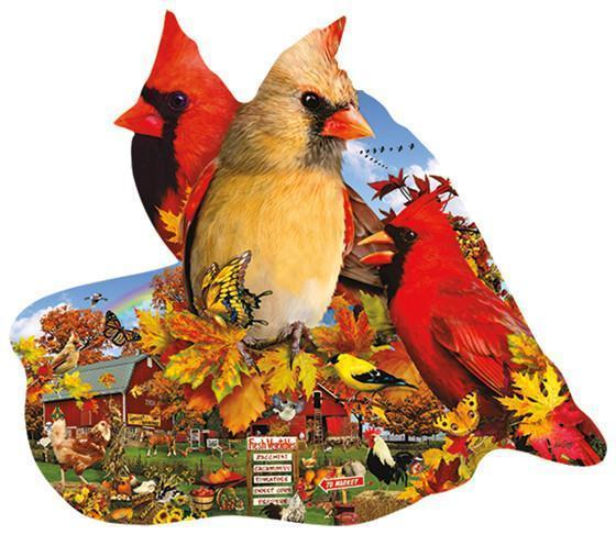 Fall Cardinals 800pc Shaped Jigsaw Puzzle | Lori Schory