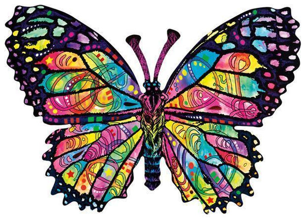 Stained Glass Butterfly 1000pc Shaped Jigsaw Puzzle | Dean Russo