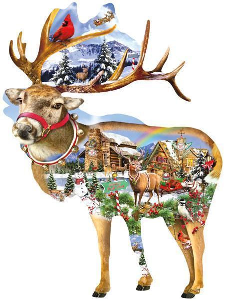 Reindeer Training 800pc Shaped Jigsaw Puzzle | Lori Schory