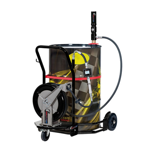 Wolflube Wheeled Oil Set – for 55 GAL Drums – 1:1 - 30ft Hose Reel