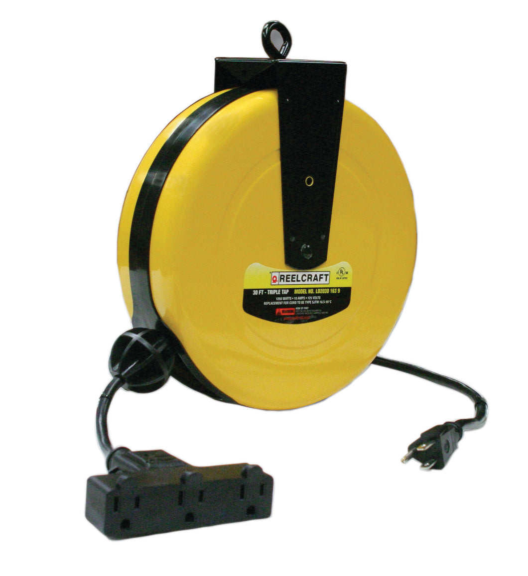 REELCRAFT LD2030 163 9 16 AWG / 3 Cond  x 30ft, 10 AMP, Triple Outlet, With Cord freeshipping - Empire Lube Equipment