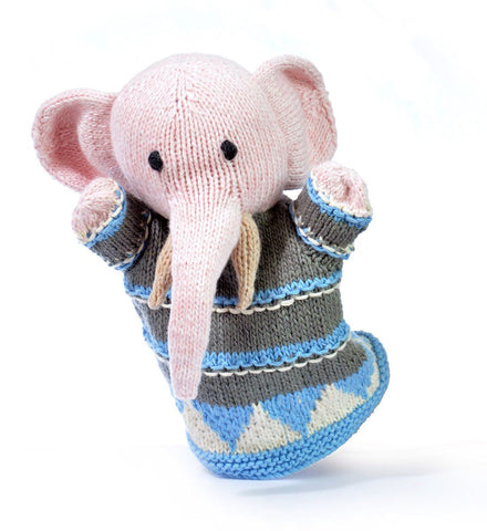 Organic Cotton Elephant Hand Puppet by Chunki Chilli