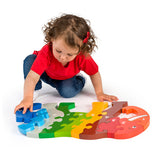 Super sized Fair Trade wooden elephant jigsaw puzzle with child