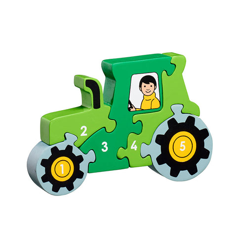 Fair Trade wooden tractor jigsaw puzzle with 5 pieces green