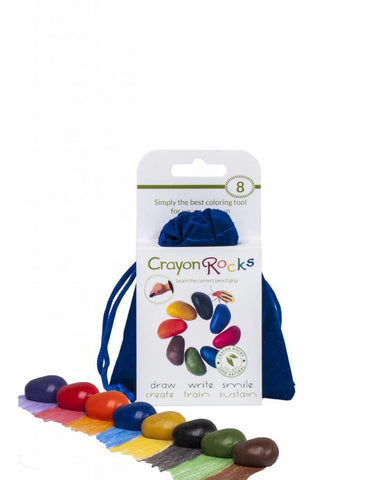 8 Crayon Rocks in Blue Velvet Bag