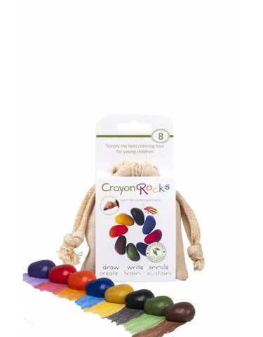 8 Crayon Rocks in Cotton Muslin Bag