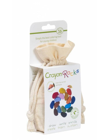 16 Crayon Rocks in Cotton Muslin Bag