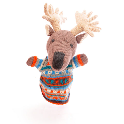 Organic Cotton Moose Hand Puppet by Chunki Chilli