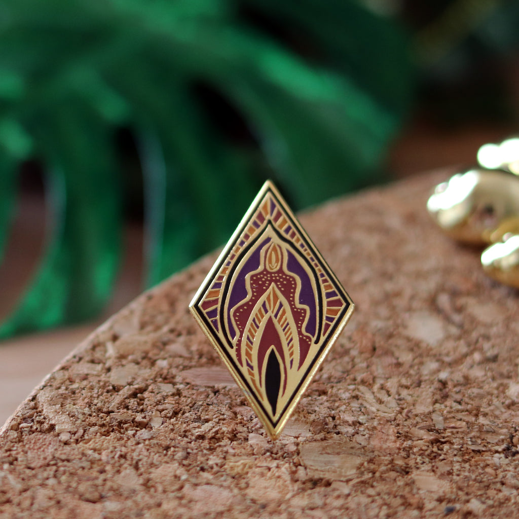 Art Deco style abstract vulva enamel pin in purpele by Milk and Moon