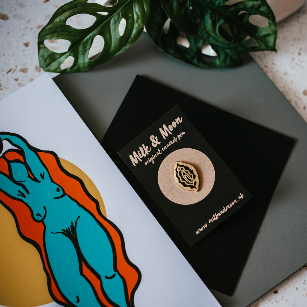 black enamel pin vulva