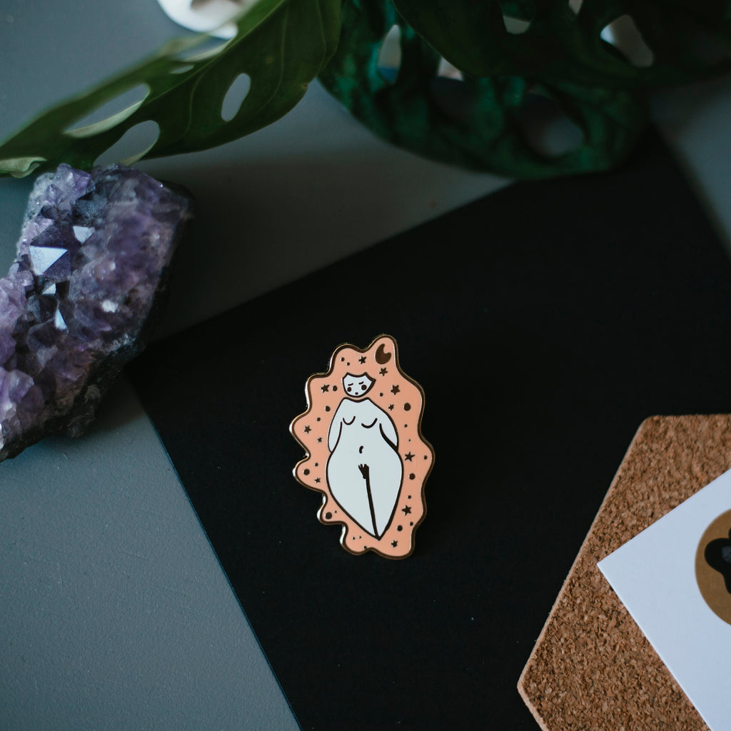 nude lady enamel pin