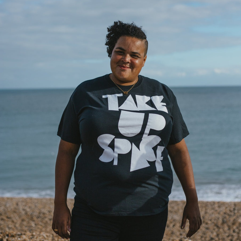 Take Up Space feminist tee plus size model